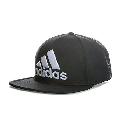 adidas Flat Fitted Logo Cap In Black- Flat Visor- Button To Top- Fitted