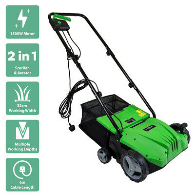 Charles Bentley 2 in 1 Electric Garden Scarifier & Aerator Lawn Raker - 1500W