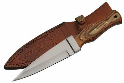 """Boot Knife   9"""" Overall Brown Wood Handle Tactical Blade + Leather Sheath"""