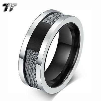 TT Silver/Black Stainless Steel Wire Band Ring (R394) NEW