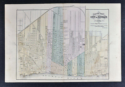 1873 Eugene Robinson Map of Detroit Michigan Downtown Grand Circus Riverfront