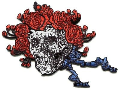 GRATEFUL DEAD skull/roses cut-out IRON ON PATCH -p1229 Free Shipping