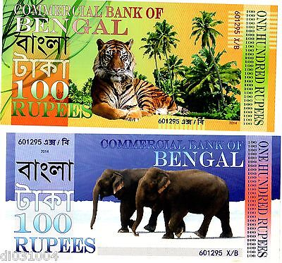 commercial Bank of Bengalen 100 Rupien 2014 Polymer Tiger Elefant neu unc