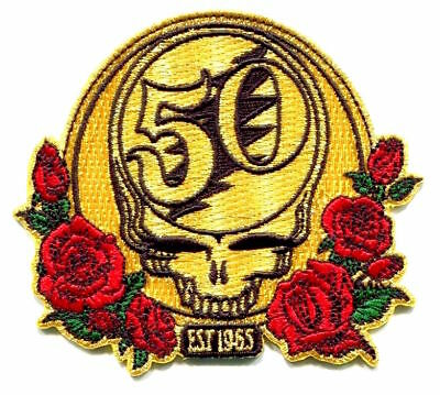 GRATEFUL DEAD Golden 50th Anniversary/Roses EMBROIDERED IRON ON PATCH