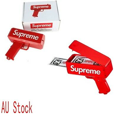 AU Supreme SS17 Red Box Logo Cash Cannon Money Gun Brand New Toys 100% Authentic