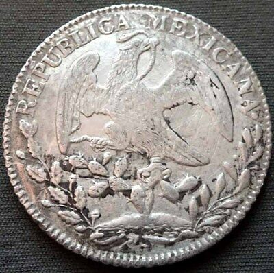 Mexico First Republic 1850 Go, PF Silver 8 Reales - Guanajuato - Damaged - Harsh