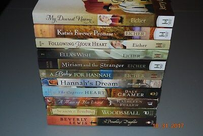 Lot of 11 Assorted AMISH Romance Books by Eicher, Cramer, Fuller, Beverly Lewis