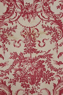 Antique red block printed  c1860 pink Rococo toile fabric material printed linen