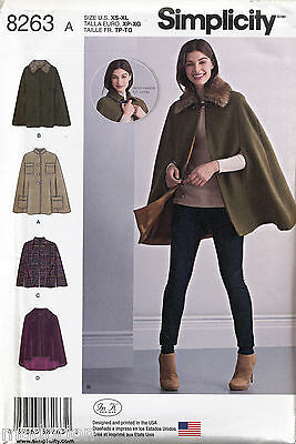 Simplicity Sewing Pattern 8263 Misses Sz 6-24 Capes & Capelets W/ Collar Options