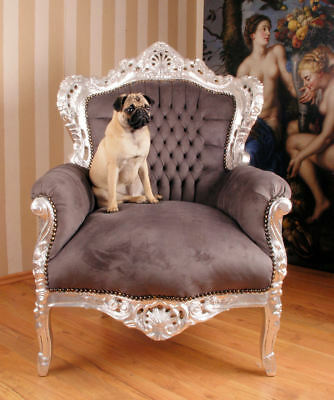 Baroque Armchair Chair Shabby Chic Silver Wood Louis Xv Vintage Throne Wing High