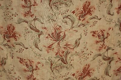 Antique French cafe curtain sheer floral pattern c 1900 orange + green fabric ~~