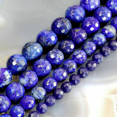 """New!Natural Lapis Lazuli Matte Faceted Round Spacer Beads 15"""",3 4 6 8 10 12 16mm"""