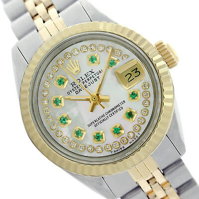 Rolex Lady Datejust 6917 Oyster Perpetual White MOP Dial Emerald Hour Marker