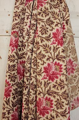 Antique French  printed cotton madder brown pink Belle Epoque simulated warp