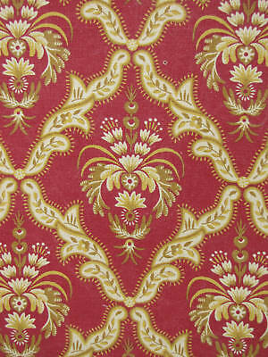 Antique French 19th century fabric material red gold