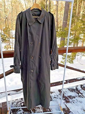 Brooks Brothers Vintage Men 42L Olive Green Pure Wool Lined Trench Coat Made USA