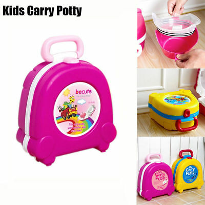 Cute Kids Toddler Training Plastic Portable Potty Toilet Home Travel Pee Trainer