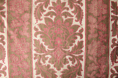 Antique French 19th century fabric c1870 madder brown dyed  printed cotton