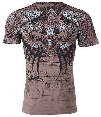 XTREME COUTURE by AFFLICTION Mens T-Shirt ROT Cross Wings Skulls Biker UFC $40