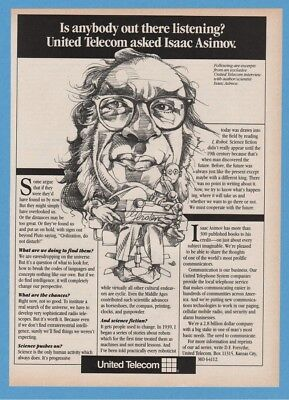 1985 Isaac Asimov Interview United Telecom Vintage Communications Art Ad
