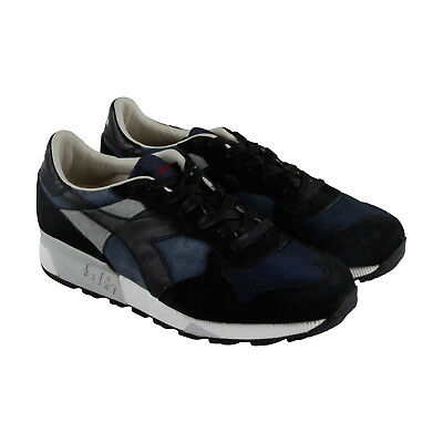 Diadora Trident 90 S Mens Blue Mesh & Suede Athletic Lace Up Training Shoes