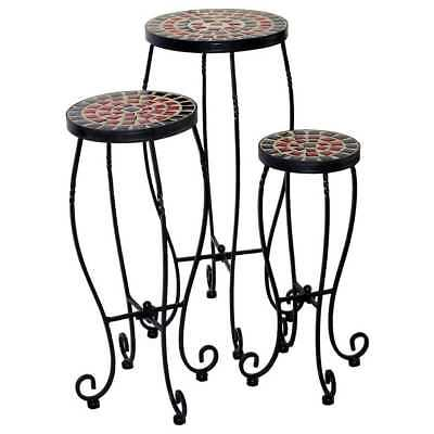 Stellarton Multicolored Powder-coated Wrought Iron and Ceramic Tile Round Plant