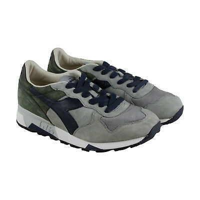 Diadora Trident 90 S Mens Gray Mesh & Suede Athletic Lace Up Training Shoes