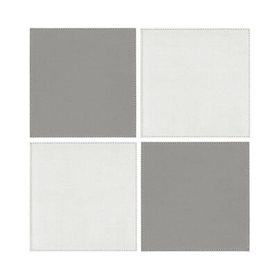 iStyle Reverisble White and Grey Placemats 4pcs Place Settings Mats Faux Leather