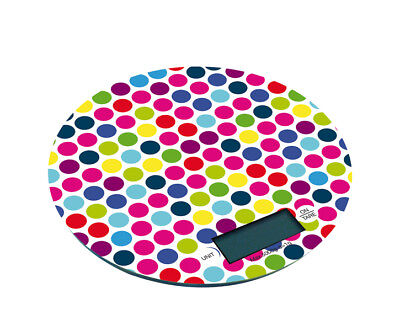 Pebbly Dotty Round Kitchen Scales Measuring Weigh Ingredients Fun Multi Colours