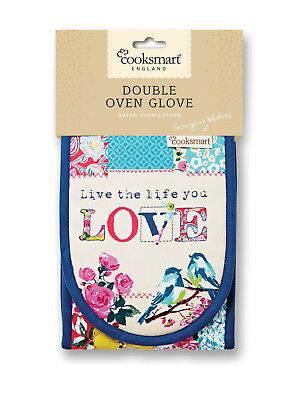 Cooksmart Oriental Patchwork Double Oven Glove Mitt Floral Multi Insulate Cotton