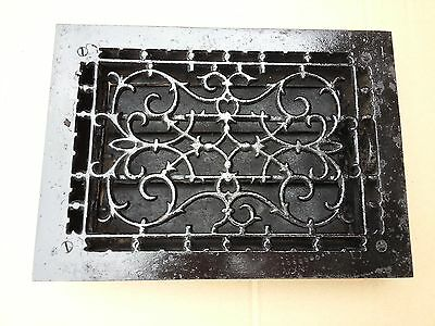 Vintage VICTORIAN Cast Iron Floor Grille 13x9  Heat Grate Register with Louvers