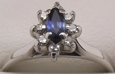 Solid 18Ct White Gold Natural Diamond & Sapphire Engagement/dress Ring-Val $1305