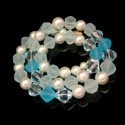 Vintage Lucite Necklace Mid Century Chunky Aqua Blue Faux Crystal Beads Pretty