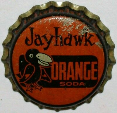 Vintage soda pop bottle cap JAYHAWK ORANGE Rock Chalk mascot pictured cork Rare