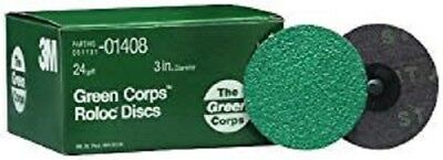 """3M 01408 Green Corps Roloc Discs 24 Grit 3"""" Dia 5 Discs Free Shipping"""