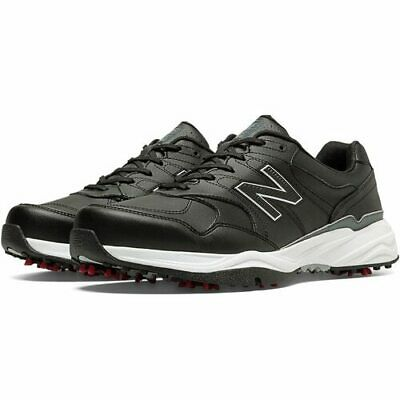 New Balance Mens Nbg574 Leather Spiked Golf Shoes - Black / Red