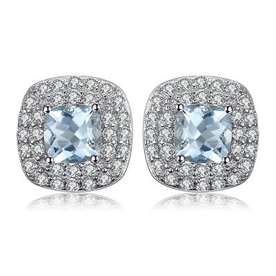 JewelryPalace 0.9ct Natural Aquamarine Halo Stud Earrings 925 Sterling Silver