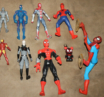 Spiderman action figure lot of 9 large & small Marvel figures comic hero