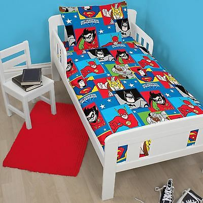 Dc Comics Super Friends Buddies Junior Toddler Cot Bed Duvet Cover Bedding Set