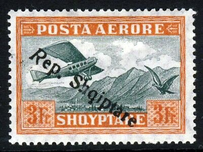 ALBANIA 1927 3 Fr. Air Mail High Value Overprinted Rep. Shqiptare SG 210 MINT