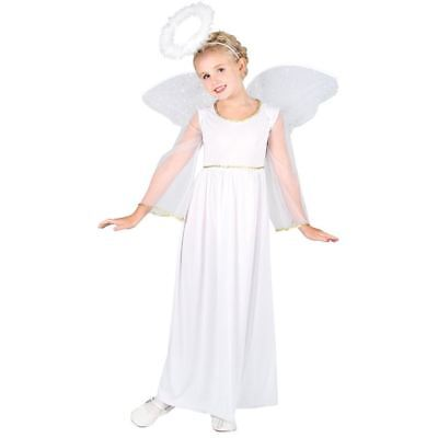 Girls Angel Costume Christmas Fairy Fancy Dress Nativity Child Outfit
