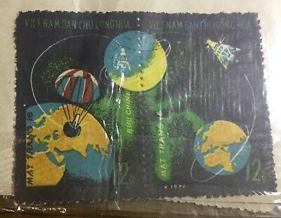 1971 Luna 16 North Vietnam Stamp Paired & Single - Unopened