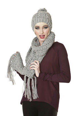 Ladies Knitted Fashion Winter Beanie Hat And Scarf Set Maude