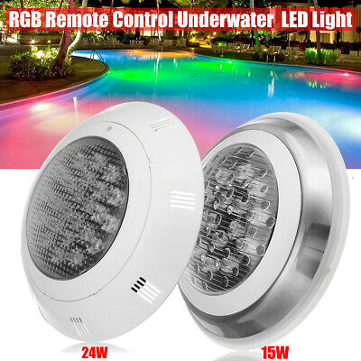 15W/24W RGB 7-Color Swimming Pool LED Light Underwater Lamp + Remote Control