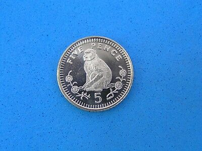 Barbary Ape Monkey Coin from Gibraltar, 5 Pence 2000, Brilliant Uncirculated
