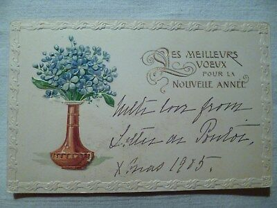 cpa gaufrée fleur postcard antique embossed flower cartolina fiore carte postale