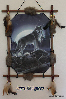 Indian Picture Lone Wolf Dream Catcher  Mandella 22 x16 beads feathers Framed