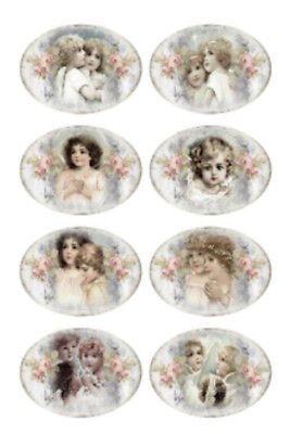 Vintage Image Shabby Victorian Roses Angels Labels Transfers Decals LAB436