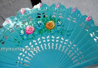 Spanish Flamenco Vintage Wood Wooden Folding Hand Painted Floral Flowers Fan #F