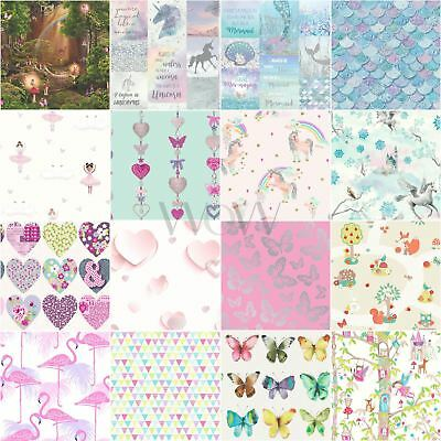 Girls Kids Wallpaper - Unicorn Hearts Dots Mermaid Flamingo Butterfly Owl & More
